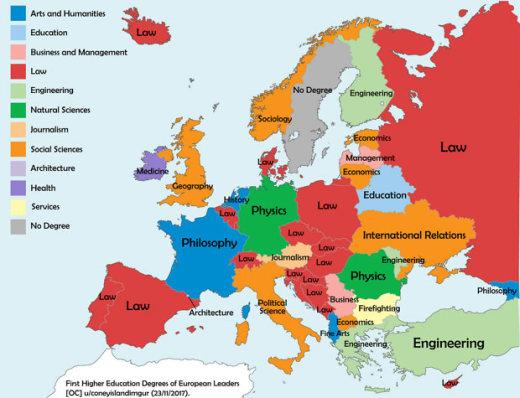 Objavljena Mapa Koja Otkriva Sta Su Studirali Sefovi Evropskih