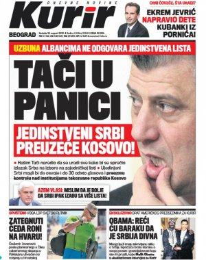 Kurir: Tači u panici, jedinstveni Srbi preuzeće Kosovo | Hronika